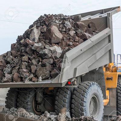 truck hauling stone